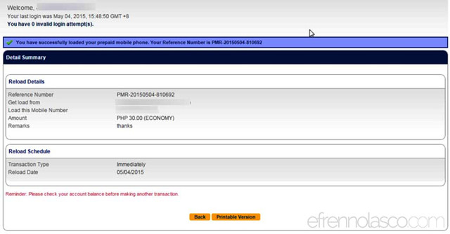 How to buy load using BDO online Banking step 7