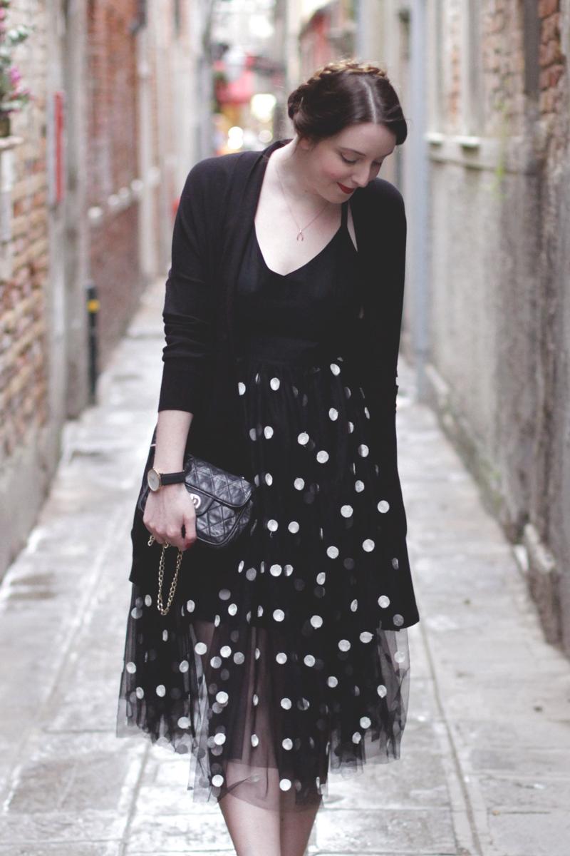 Black Polkadot Evening Dress, Bumpkin Betty