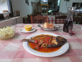 Taverna in Therma. The fish in sauce with salad and with bread was 8 Euros. I could have eaten spaghetti Bolognese for 5 Euros! The half litre of wine was 3 Euros. But at payment time she only wanted 10 Euros. All fresh, all local produce. With a fantastic sea view.