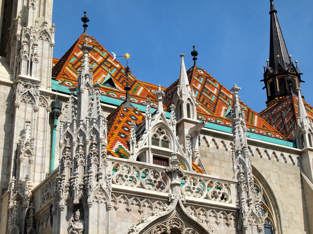 Tiled roof of St. Matthias Church in Budapest, Hungary