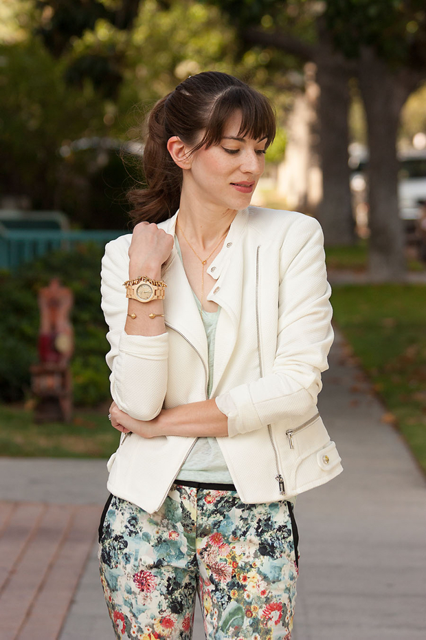 Jord Wood Watch, Floral Pants, Mint Tee, Gorjana Neckalce