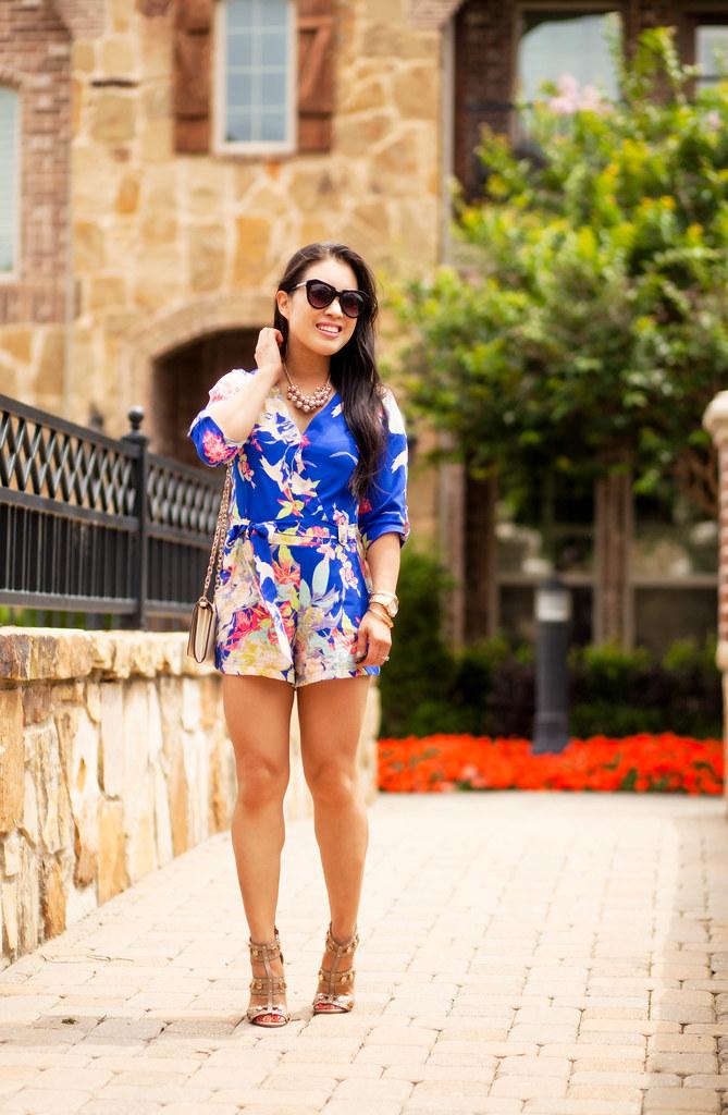 cute & little blog | petite fashion | sheinside blue floral romper, shoedazzle azzurra studded sandal heels, tory burch ivory wallet on chain, pearl cluster necklace, karen walker number one | spring summer outfit