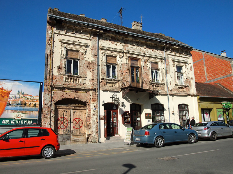 Building with bullet holes in Vukovar, Croatia