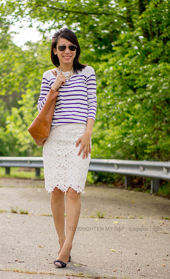 striped top, lace skirt, statement necklace, cognac brown tote, bow ballerina flats