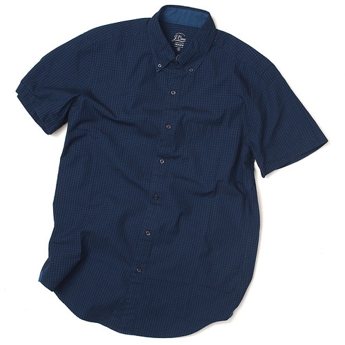 J.Crew / Secret Wash Short-Sleeve Shirt In Indigo Gingham