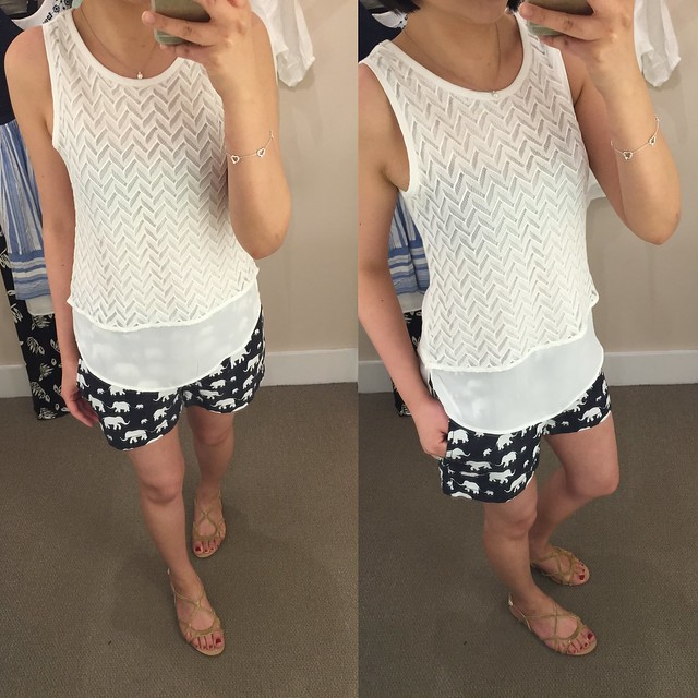 LOFT Zigzag Lace Layered Tank (size XXSP) & Elephant Riviera Shorts with 4 inch inseam (size 00)
