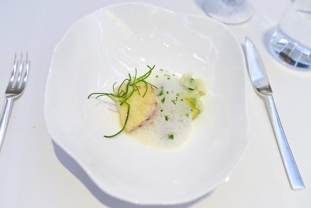 TURBOT Grilled French Turbot Fillet, Poached in Nantais Butter, Shellfish, Avocado and Leeks