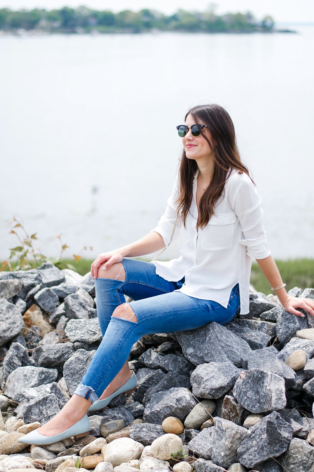 White Blouse Ripped Jeans