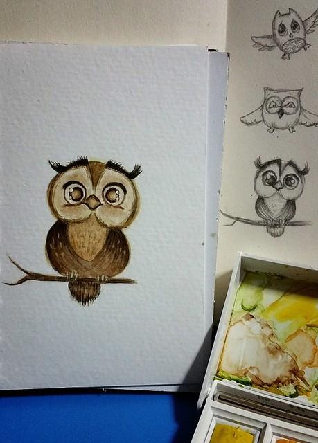 {Owl} Watercolor