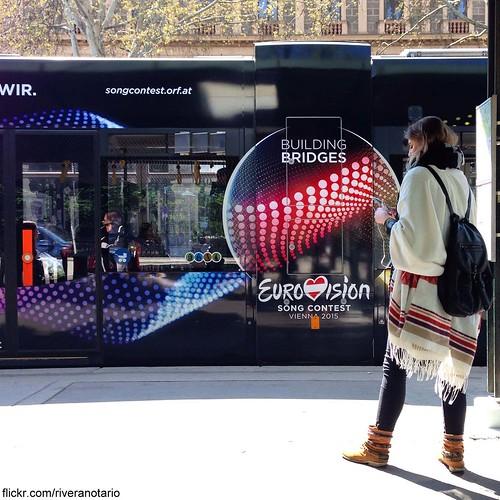 Eurovision tram and girl - Vienna, Austria