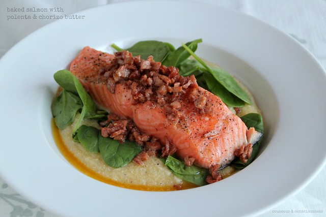 Baked salmon with polenta & chorizo butter