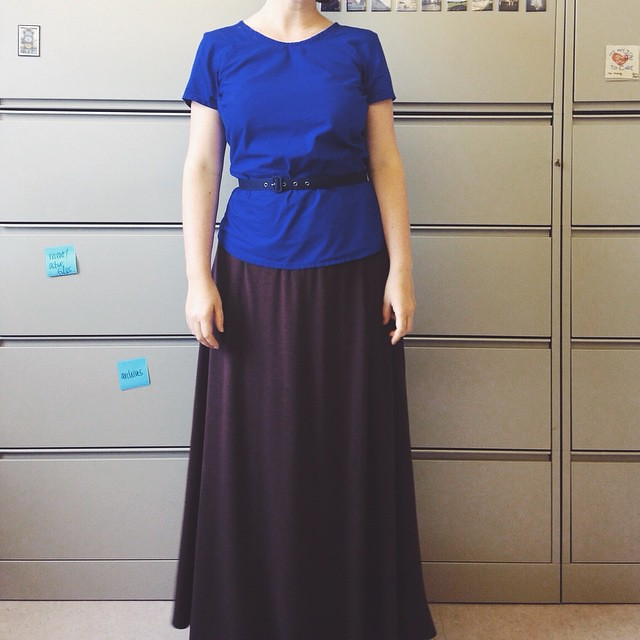 Made the shirt. The skirt was converted from a dress (chopped off the top, added elastic waistband). #memademay15 #mmmay15