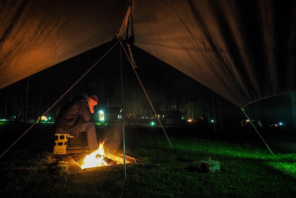 Camping at a campground in Kuromatsunai, Hokkaido, Japan