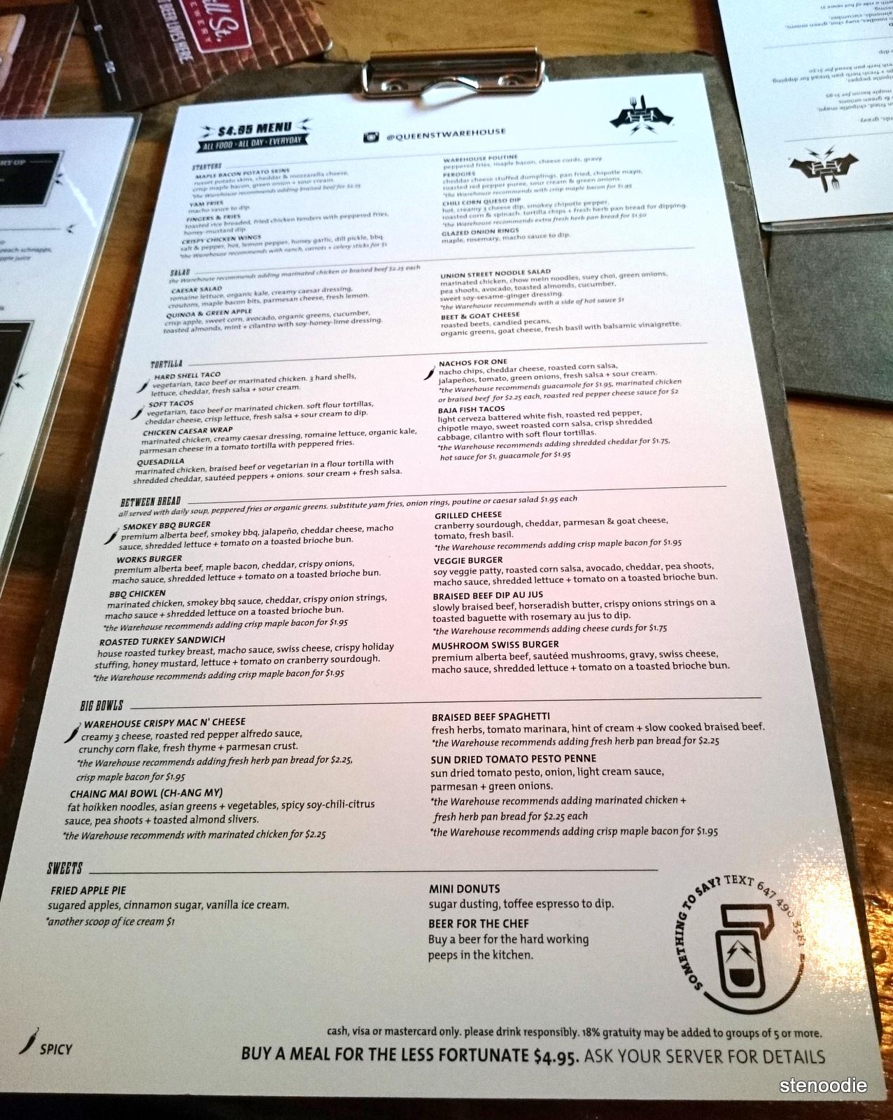 Queen Street Warehouse menu