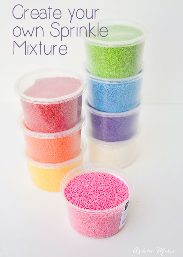 buying your sprinkles by the color so you can make your own rainbow sprinkles mixture