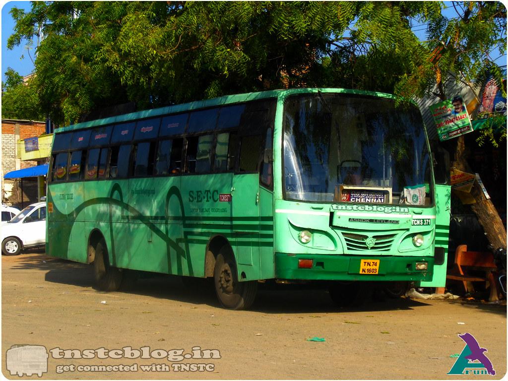 TN-74N-1603  TCN S 371 of  Thoothukudi Depot 178 UD  Eral - Chennai via Sawyerpuram, Pudukottai, Thoothukudi, Madurai.