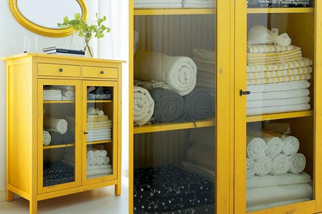 yellow-hemnes-linen-cabinet
