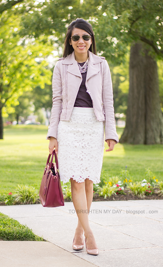 lilac leather jacket, purple tee, lace skirt, red purple tote, nude pumps
