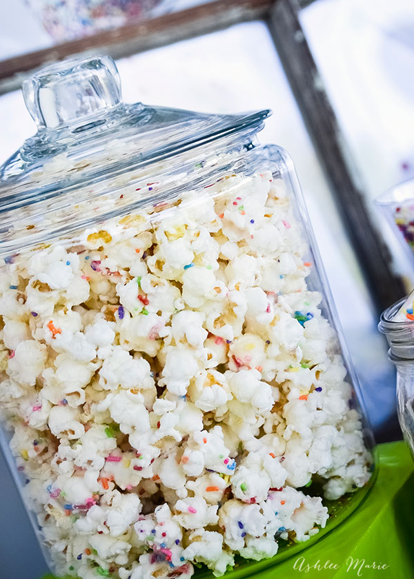 Cake Mix and Sprinkles popcorn is a favorite at parties