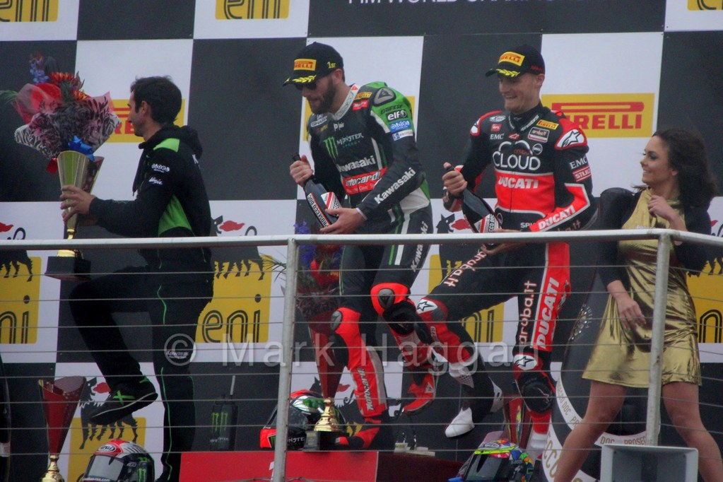 The podium from the first World Superbikes race at Donington, May 2015