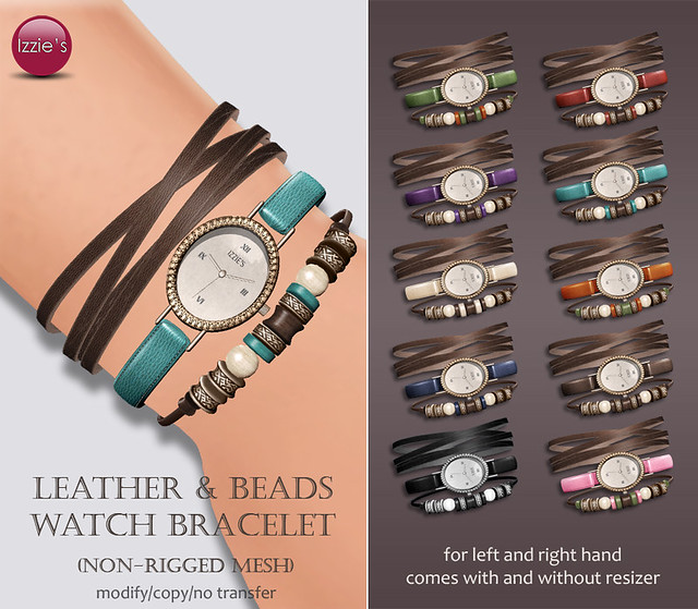 Leather & Beads Watch Bracelet