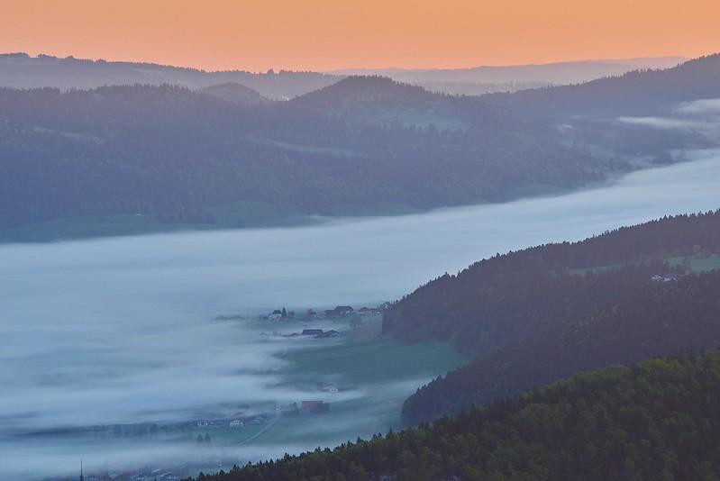 Morning fog in the valley - Creux du Van
