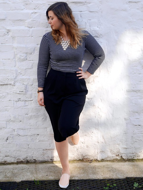 uk fashion lifestyle blogger laurenella outfit post stripes culottes