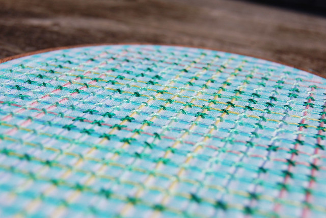 Couched Filling Stitch - close up