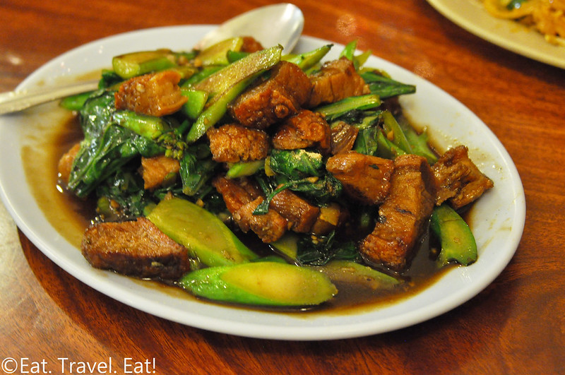 Pa-Ord Noodle #3- Los Angeles (Thai Town), CA: Crispy Pork with Chinese Broccoli