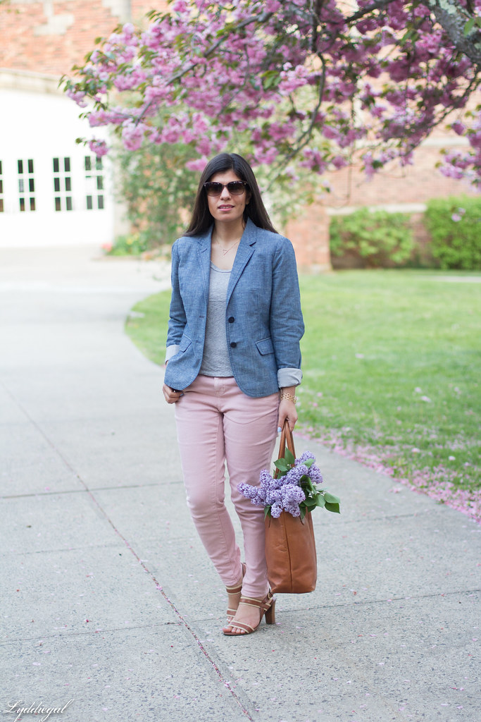 Chambray blazer, pink jeans, leather tote-1.jpg