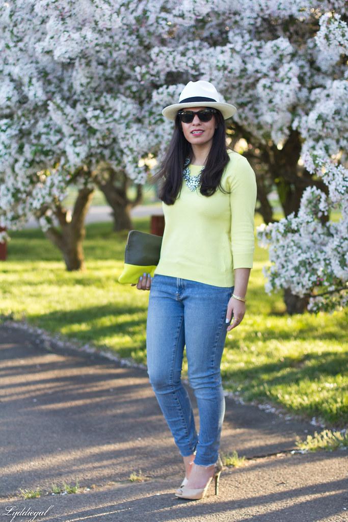yellow sweater, denim, nude pumps, panama hat-2.jpg