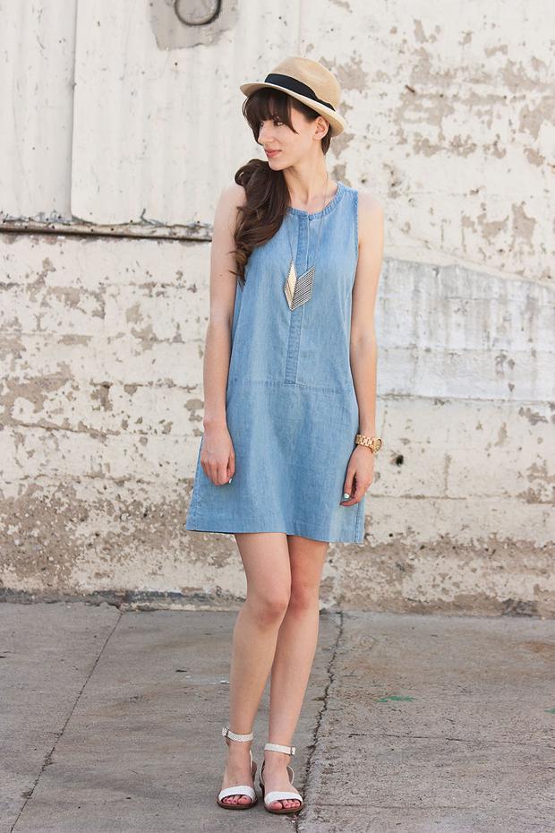 Everlane Chambray Dress, iSanctuary Chevron Necklace, Summer Fedora