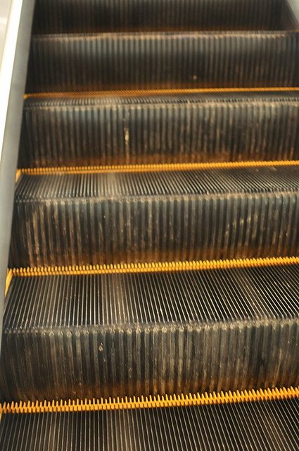 Escalator is dirty with construction dust