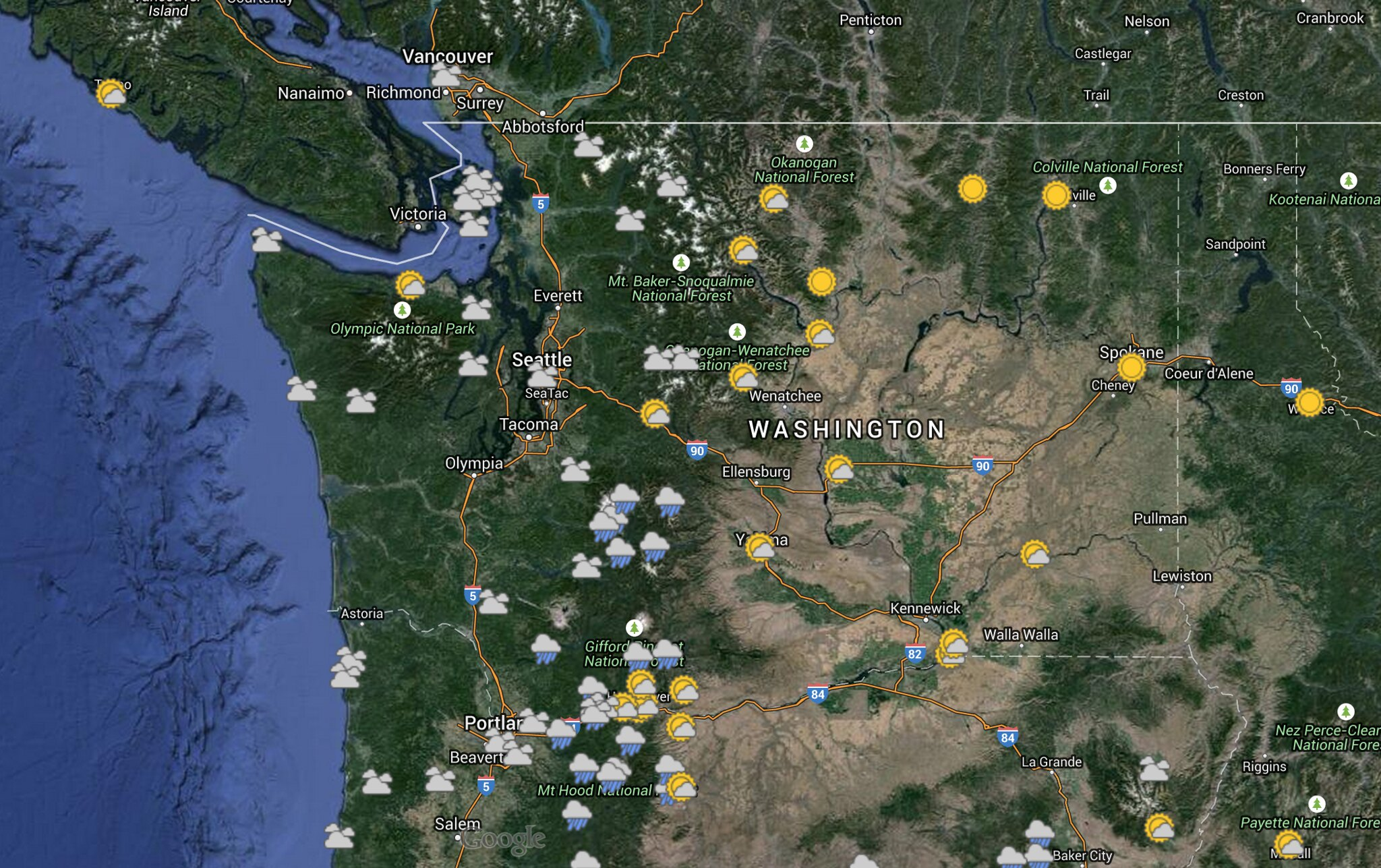 Washington Weather Map Saturday, May 23 Weather Map: Mostly Rain and Part Sun   Oregon Hikers