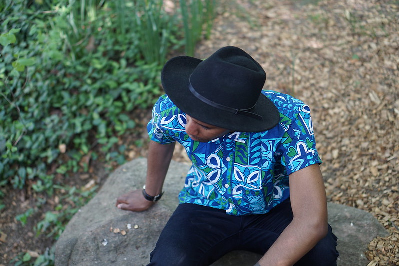 Black Hat W/ Floral Ethnic Shirt