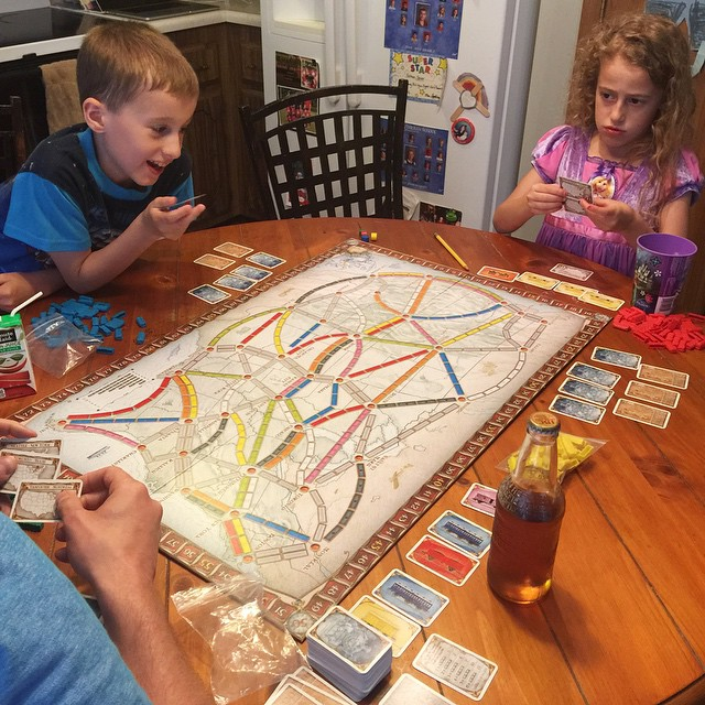 Trying out a new game for our first family board game night. #boardgames #tickettoride #autmayneedalittlehelp