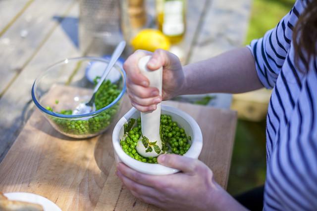 Pea, Lemon & Mint Bruchetta for Borough Market Market Life Issue 20