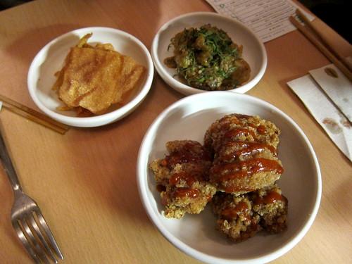 Aubergine, Wonton Crisp and  Taiwanese Fried Chicken, Hot Sauce