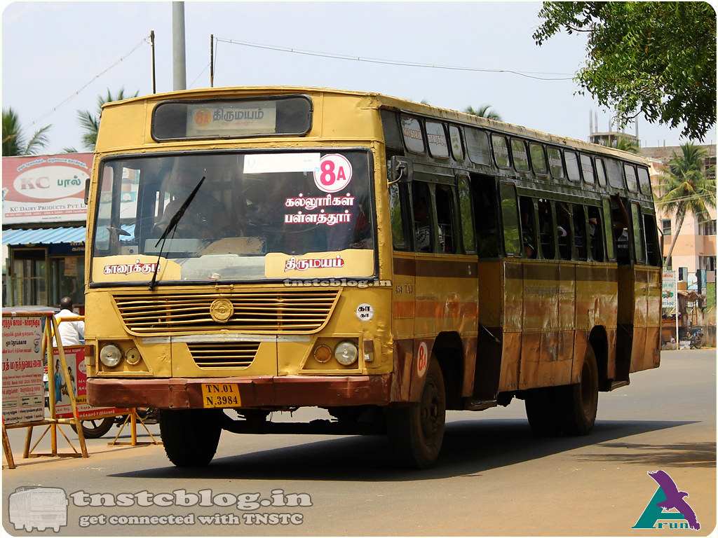 TN-01N-3984 of Karaikudi Depot 8A NGO Colony - Konapattu via Karaikudi, Colleges, Pallathur, Thirumayam, Kadiyapatti.