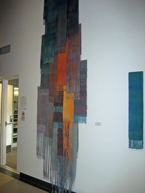 Handwoven scarf installation by Jennifer Earle and woven scarf by Victoria Lynch 2015 All Guilds Show Art Gallery of Burlington