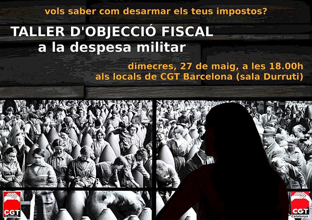taller d´objecció fiscal a la despesa militar a barcelonael 27 de maig