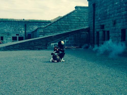 Re-enactor gives a rifle demo at Citadel Hill, Halifax, NS