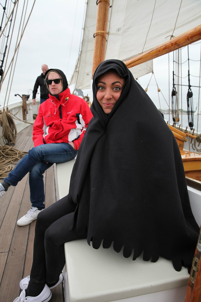 Bundled up on the schooner