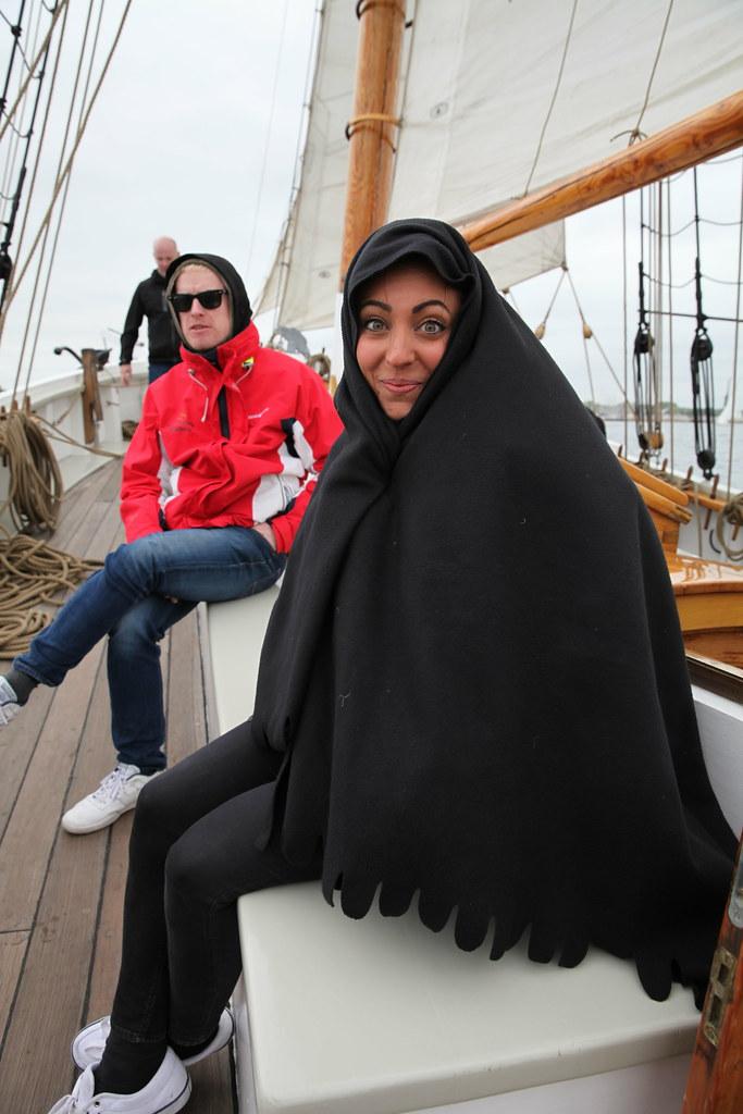 Bundled up on the schooner