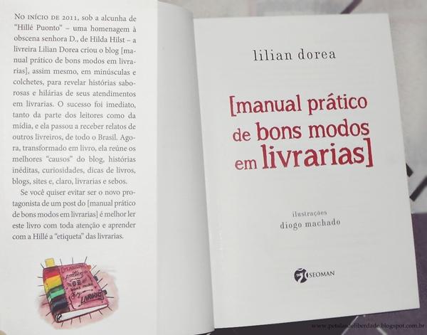 Livro manual prático de bons modos em livrarias