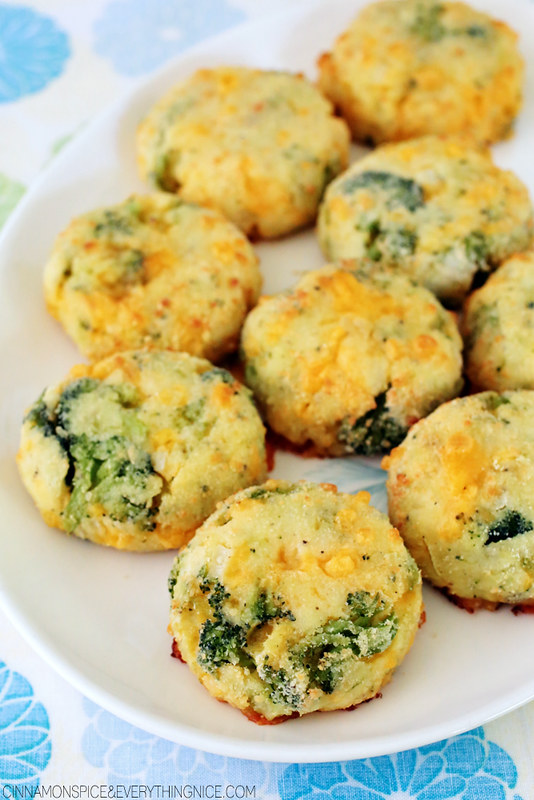 Cheddar cheese and broccoli florets tucked inside chubby little potato patties and baked until golden and delicious!