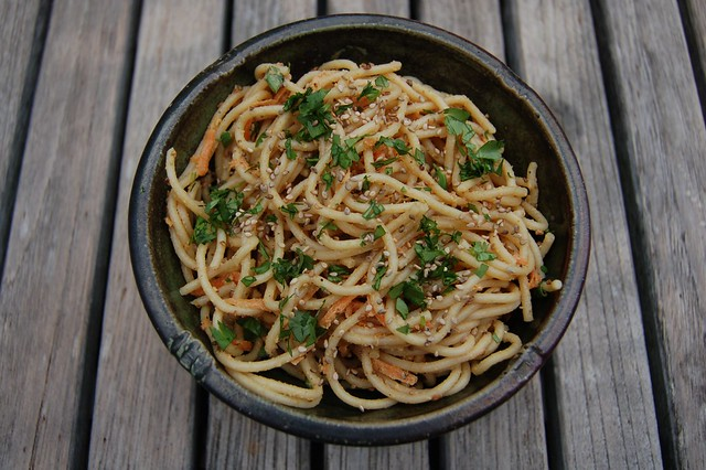 Sesame peanut noodles by Eve Fox, the Garden of Eating, copyright 2007