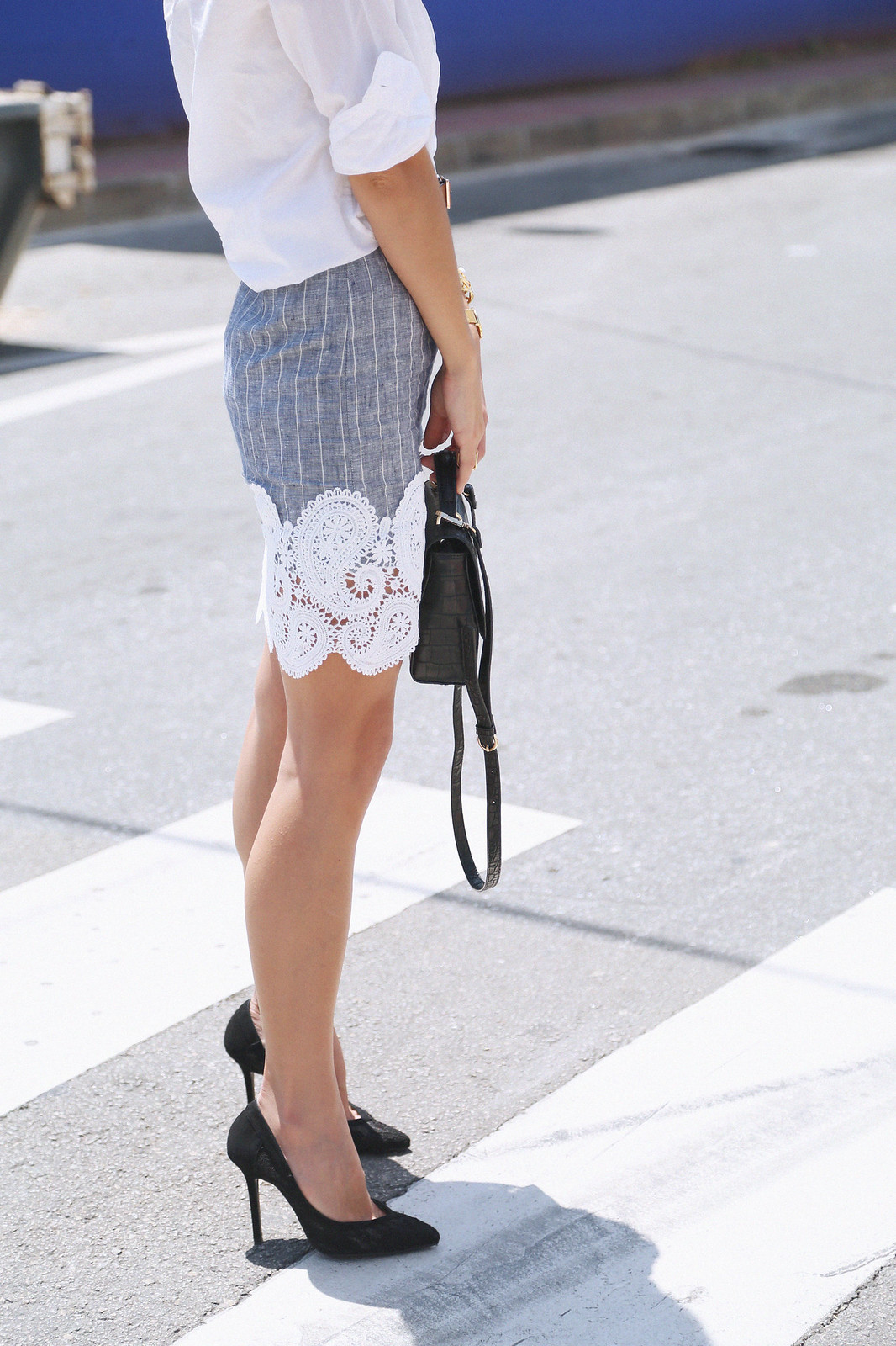 jessie chanes seams for a desire pink long skirt white off shoulder top gucci bag-15