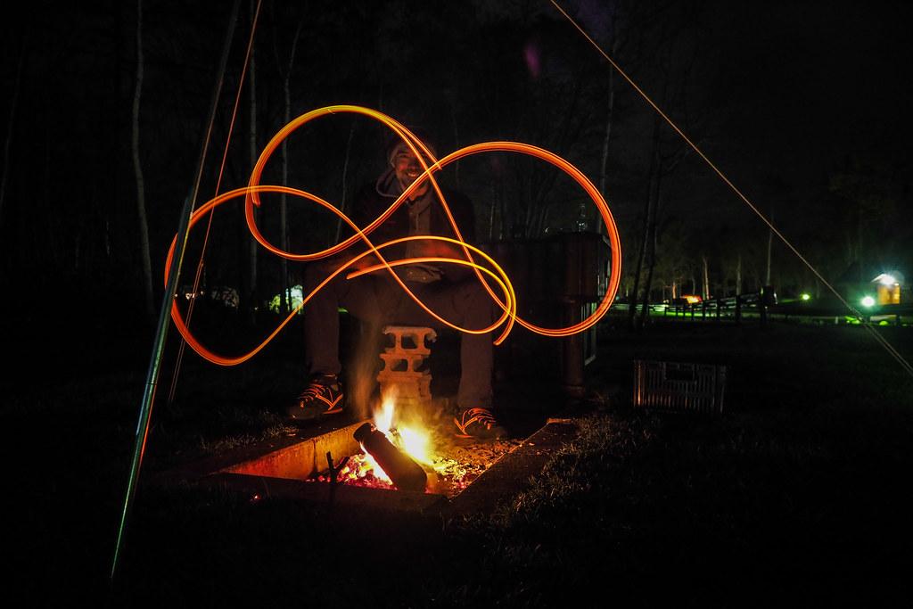 Drawing a scene at night at the Lu Picc Campground in Kuromatsunai, Hokkaido, Japan