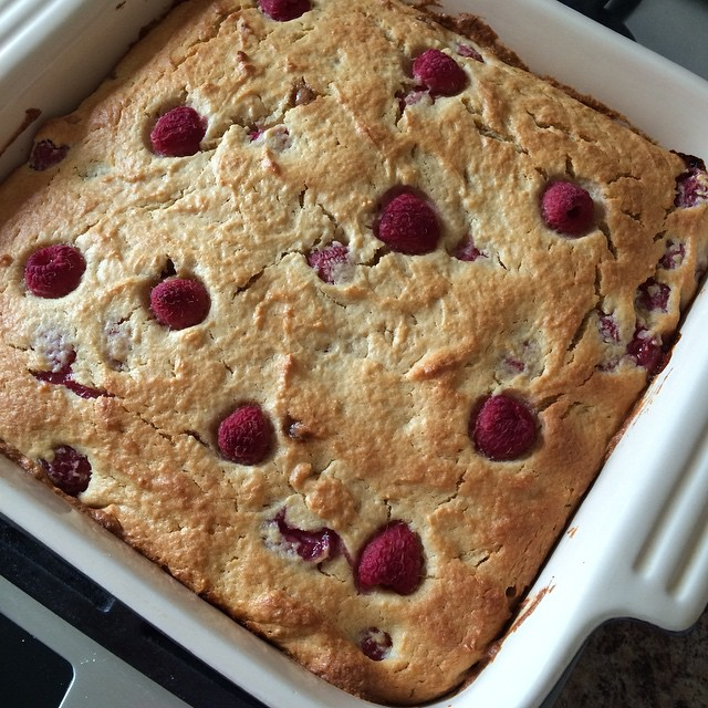 The raspberries I bought weren't great so I was forced to turn them into cake. Much better :)